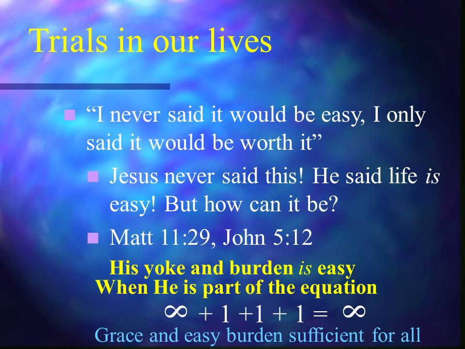 Trials in our lives I never said it would be easy, I only said it would be worth it Jesus never said this.
