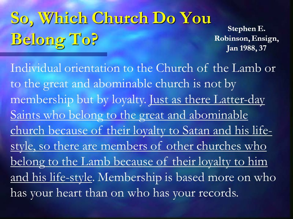 So, Which Church Do You Belong To.