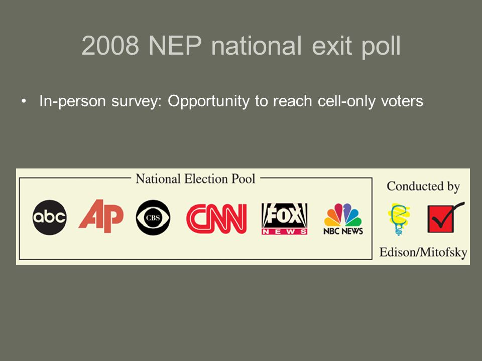 2008 NEP national exit poll In-person survey: Opportunity to reach cell-only voters