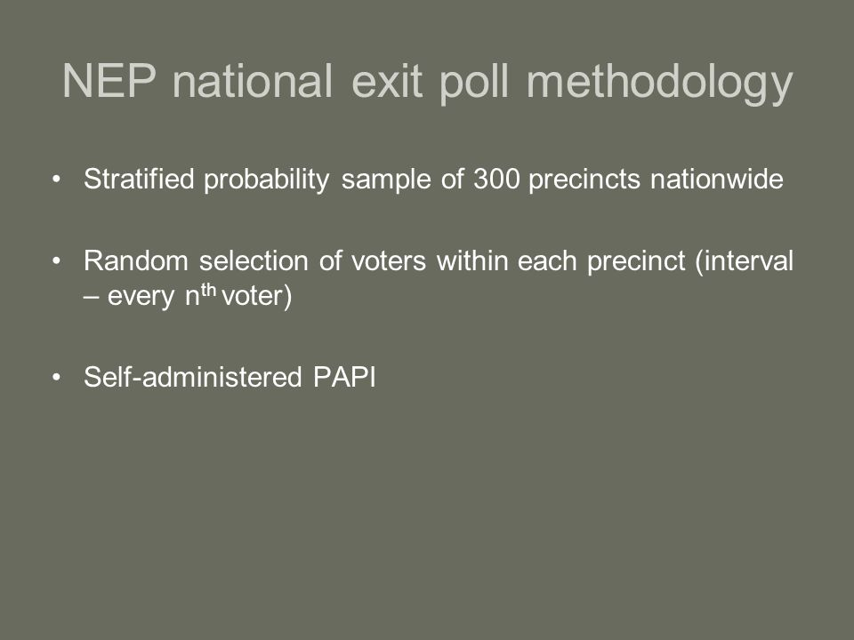 NEP national exit poll methodology Stratified probability sample of 300 precincts nationwide Random selection of voters within each precinct (interval – every n th voter) Self-administered PAPI
