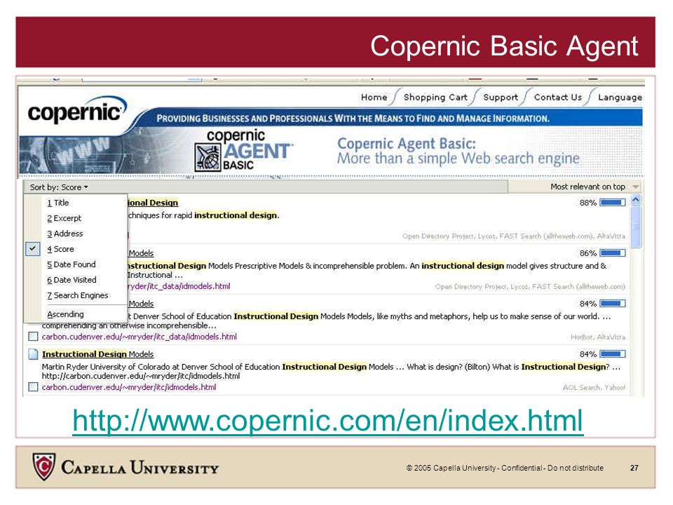 © 2005 Capella University - Confidential - Do not distribute26 Scirus http://www.scirus.com Scirus searches over 167 million science-specific Web pages, enabling you to quickly: Pinpoint scientific, scholarly, technical and medical data on the Web.