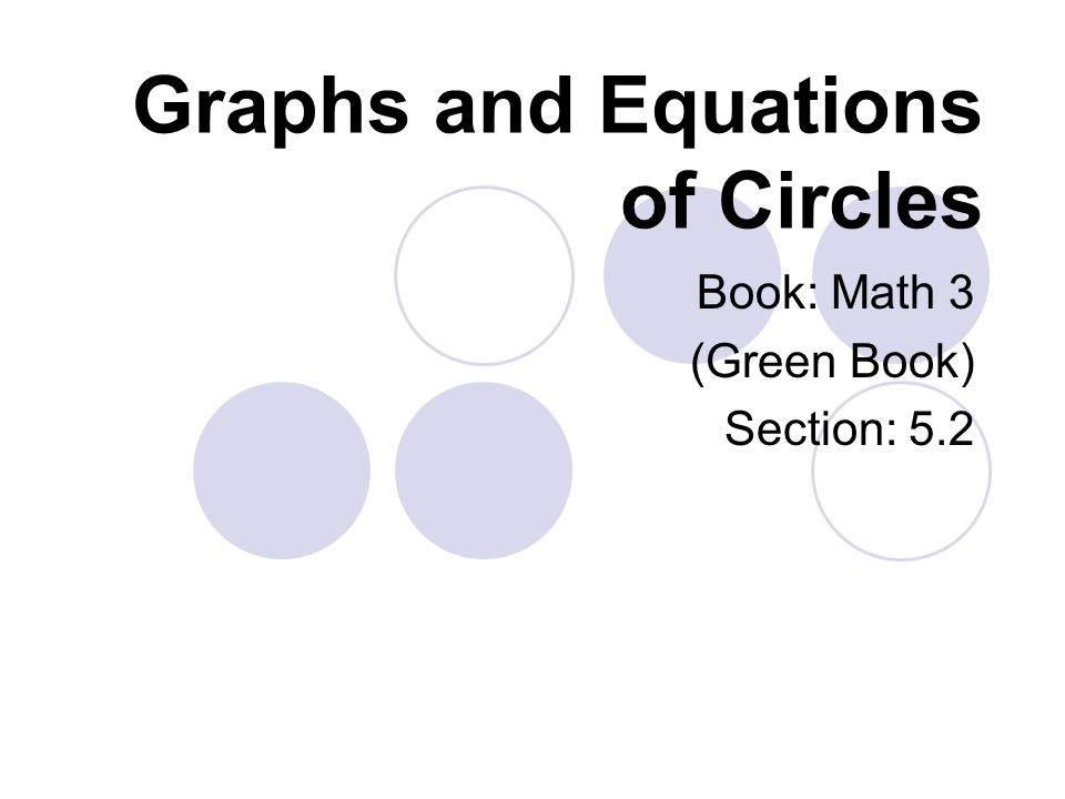 Graphs and Equations of Circles Book: Math 3 (Green Book) Section: 5.2