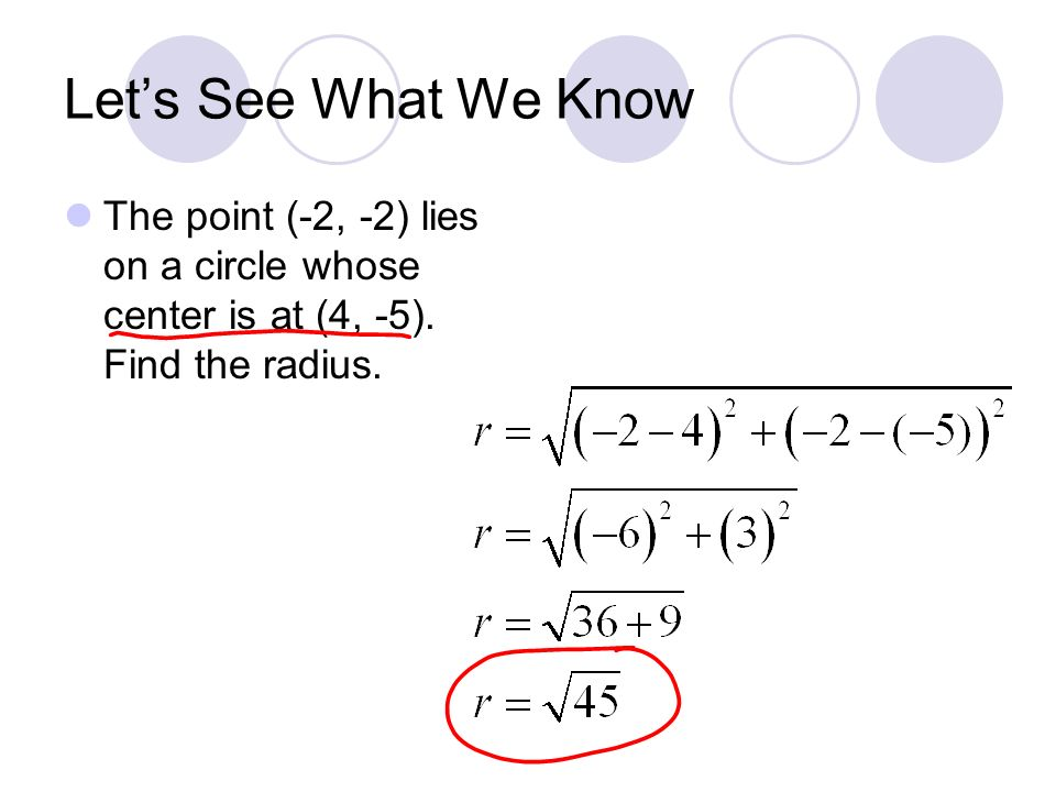 Lets See What We Know The point (-2, -2) lies on a circle whose center is at (4, -5).