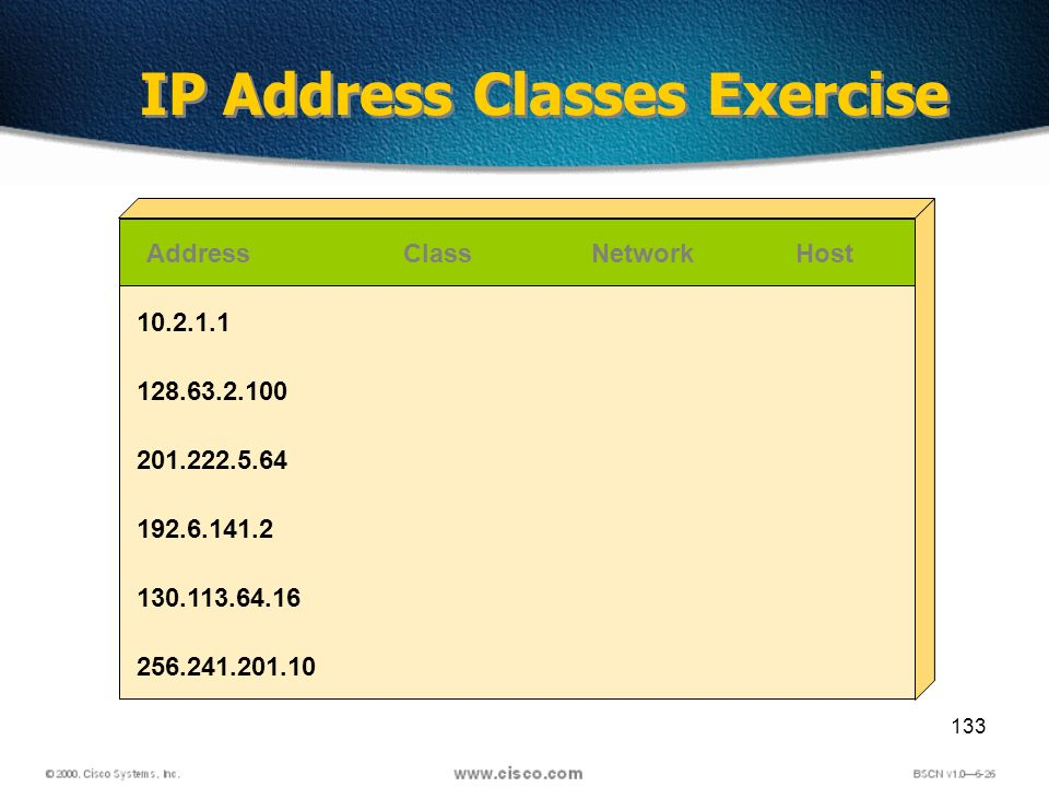133 IP Address Classes Exercise AddressClassNetworkHost 10.2.1.1 128.63.2.100 201.222.5.64 192.6.141.2 130.113.64.16 256.241.201.10