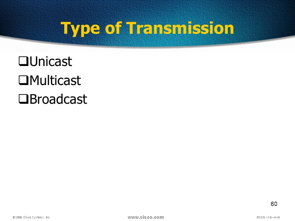 60 Type of Transmission Unicast Multicast Broadcast
