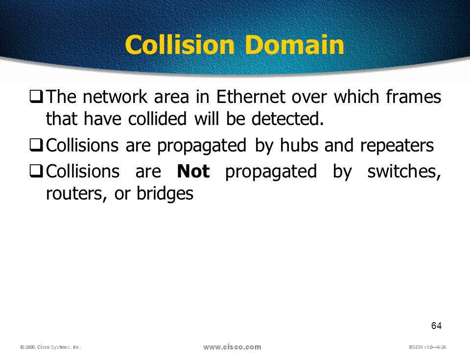64 Collision Domain The network area in Ethernet over which frames that have collided will be detected.