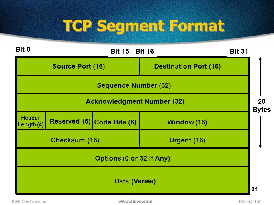 84 TCP Segment Format Source Port (16)Destination Port (16) Sequence Number (32) Header Length (4) Acknowledgment Number (32) Reserved (6) Code Bits (6)Window (16) Checksum (16)Urgent (16) Options (0 or 32 if Any) Data (Varies) 20 Bytes Bit 0 Bit 15Bit 16Bit 31
