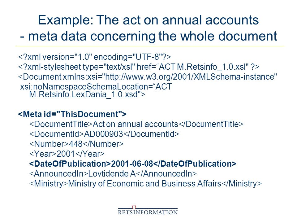 Example: The act on annual accounts - meta data concerning the whole document <Document xmlns:xsi= http://www.w3.org/2001/XMLSchema-instance xsi:noNamespaceSchemaLocation=ACT M.Retsinfo.LexDania_1.0.xsd > Act on annual accounts AD000903 448 2001 2001-06-08 Lovtidende A Ministry of Economic and Business Affairs