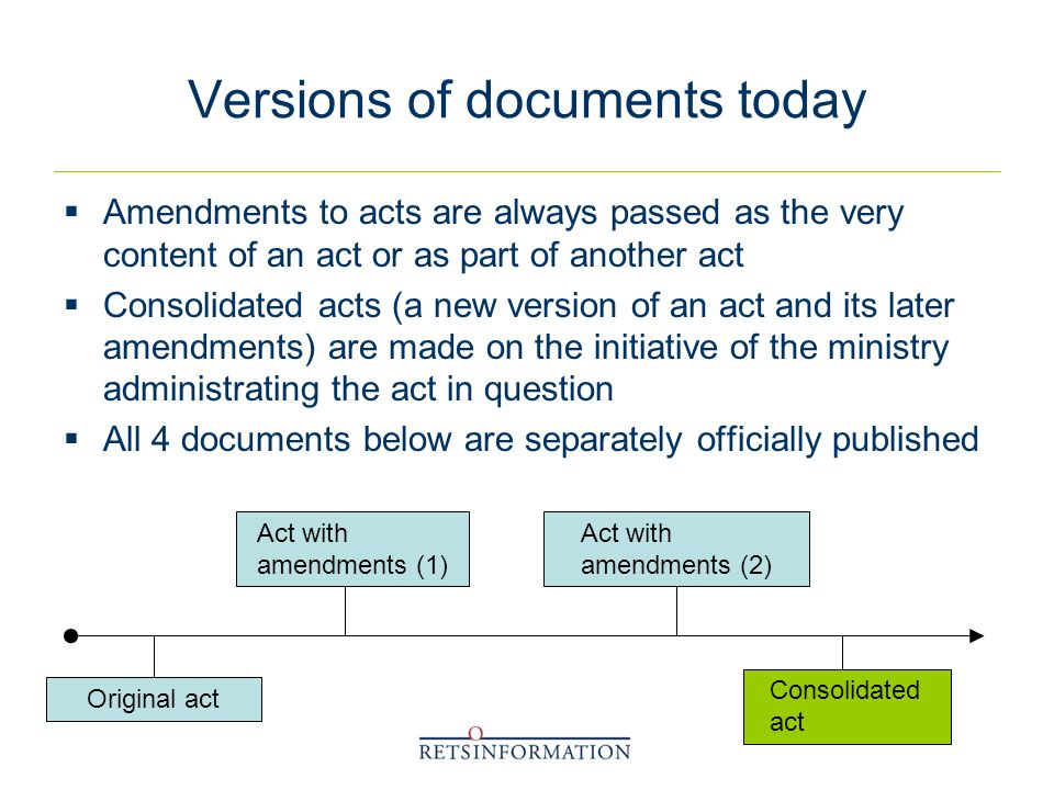 Versions of documents today Amendments to acts are always passed as the very content of an act or as part of another act Consolidated acts (a new version of an act and its later amendments) are made on the initiative of the ministry administrating the act in question All 4 documents below are separately officially published Act with amendments (1) Original act Consolidated act Act with amendments (2)