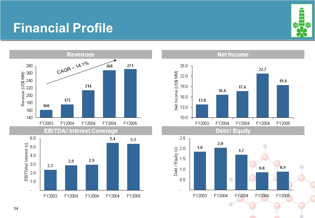 Financial Profile RevenuesNet Income EBITDA / Interest CoverageDebt / Equity CAGR – 14.1% 14