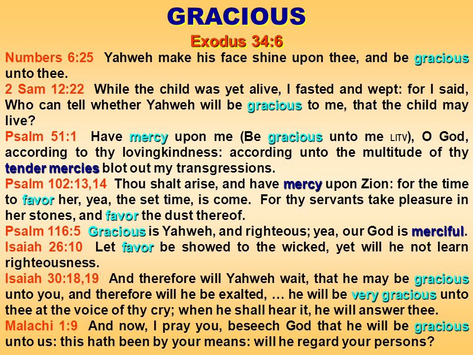 gracious Numbers 6:25 Yahweh make his face shine upon thee, and be gracious unto thee.