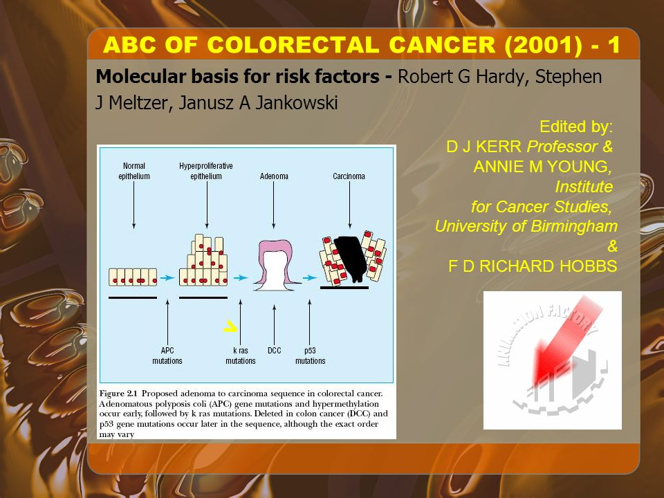 ABC OF COLORECTAL CANCER (2001) - 1 Molecular basis for risk factors - Robert G Hardy, Stephen J Meltzer, Janusz A Jankowski > Edited by: D J KERR Professor & ANNIE M YOUNG, Institute for Cancer Studies, University of Birmingham & F D RICHARD HOBBS