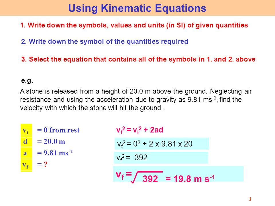 1 using kinematic equations 1 write down the symbols values and