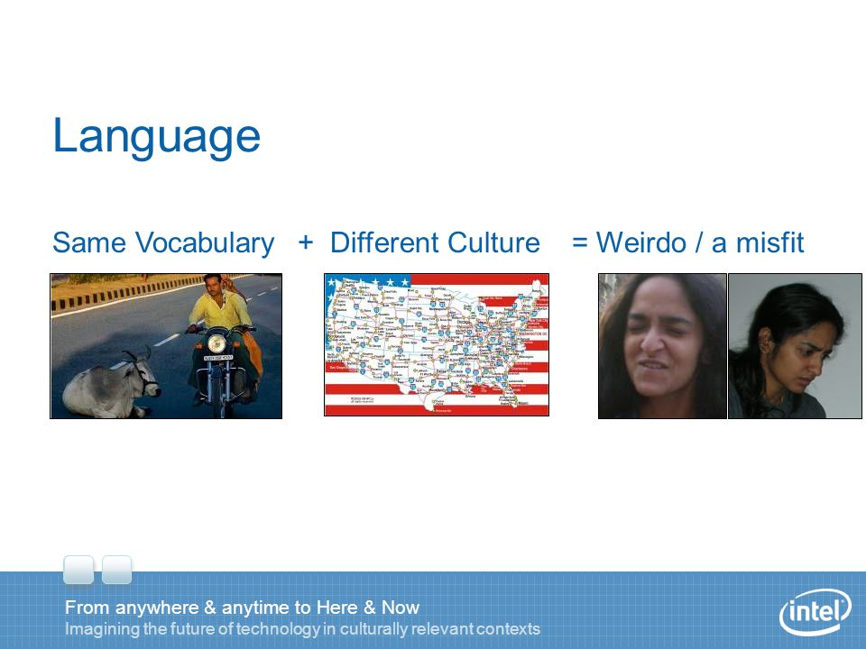 Language + Different Culture= Weirdo / a misfitSame Vocabulary