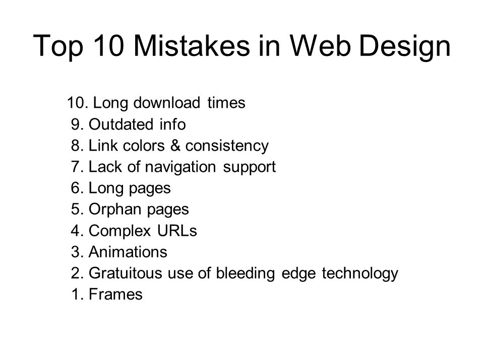 Top 10 Mistakes in Web Design 10. Long download times 9.