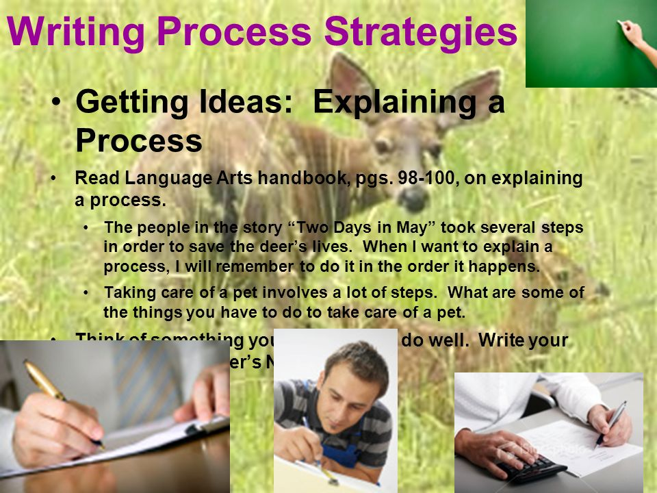 Writing Process Strategies Getting Ideas: Explaining a Process Read Language Arts handbook, pgs.