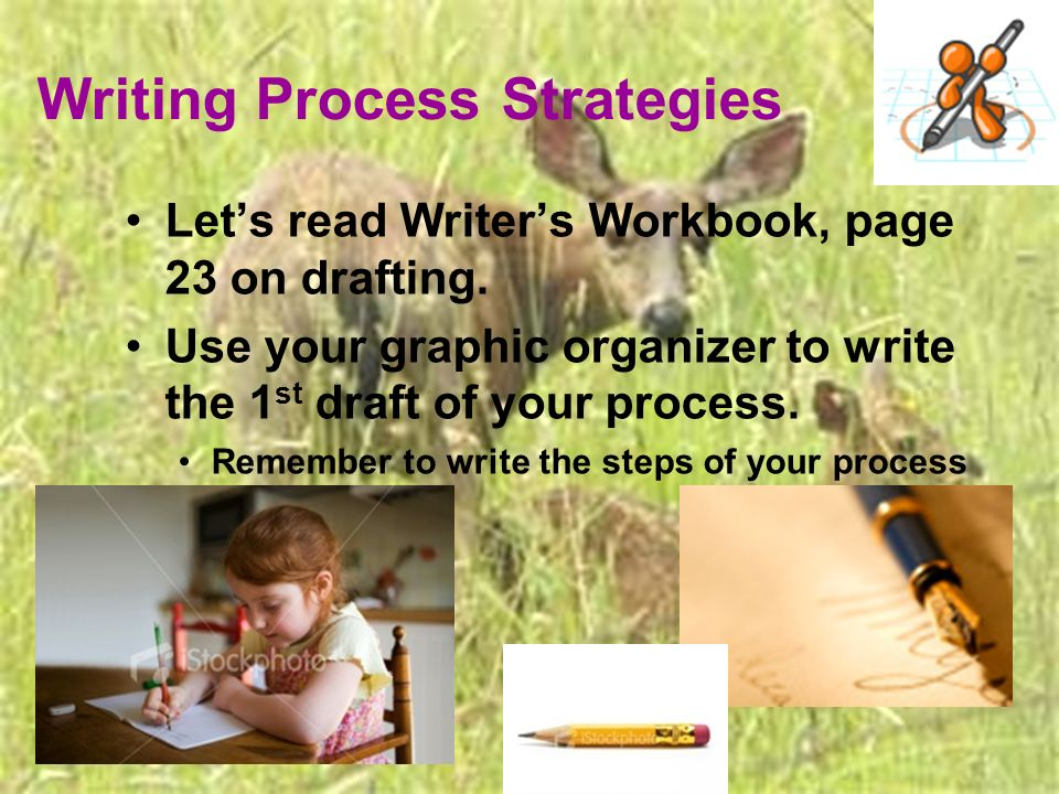 Writing Process Strategies Lets read Writers Workbook, page 23 on drafting.