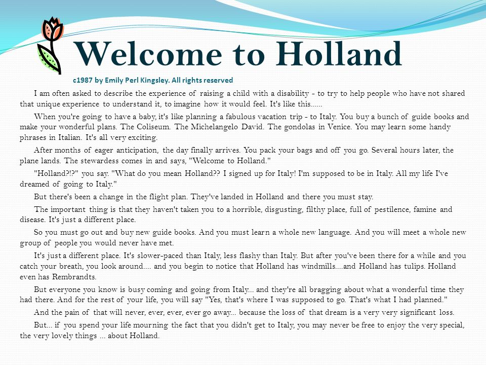 Welcome to Holland c1987 by Emily Perl Kingsley.