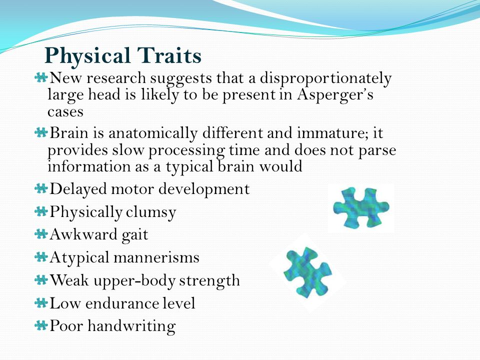 Physical Traits New research suggests that a disproportionately large head is likely to be present in Aspergers cases Brain is anatomically different and immature; it provides slow processing time and does not parse information as a typical brain would Delayed motor development Physically clumsy Awkward gait Atypical mannerisms Weak upper-body strength Low endurance level Poor handwriting