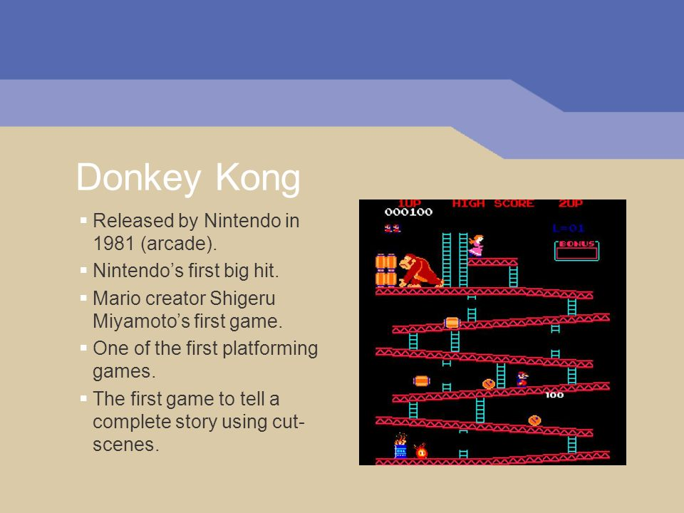 Donkey Kong Released by Nintendo in 1981 (arcade).