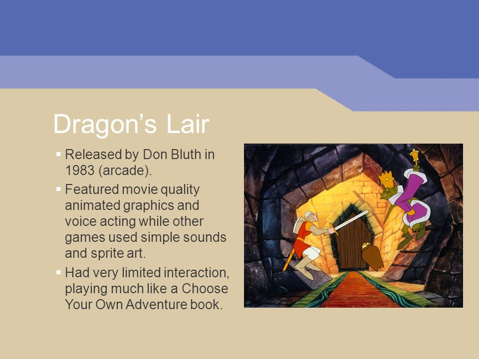 Dragons Lair Released by Don Bluth in 1983 (arcade).