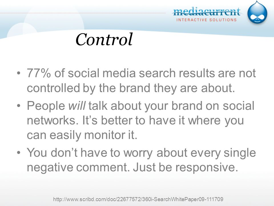 Control 77% of social media search results are not controlled by the brand they are about.