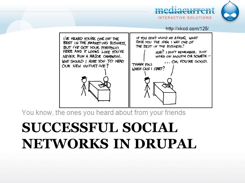 SUCCESSFUL SOCIAL NETWORKS IN DRUPAL You know, the ones you heard about from your friends