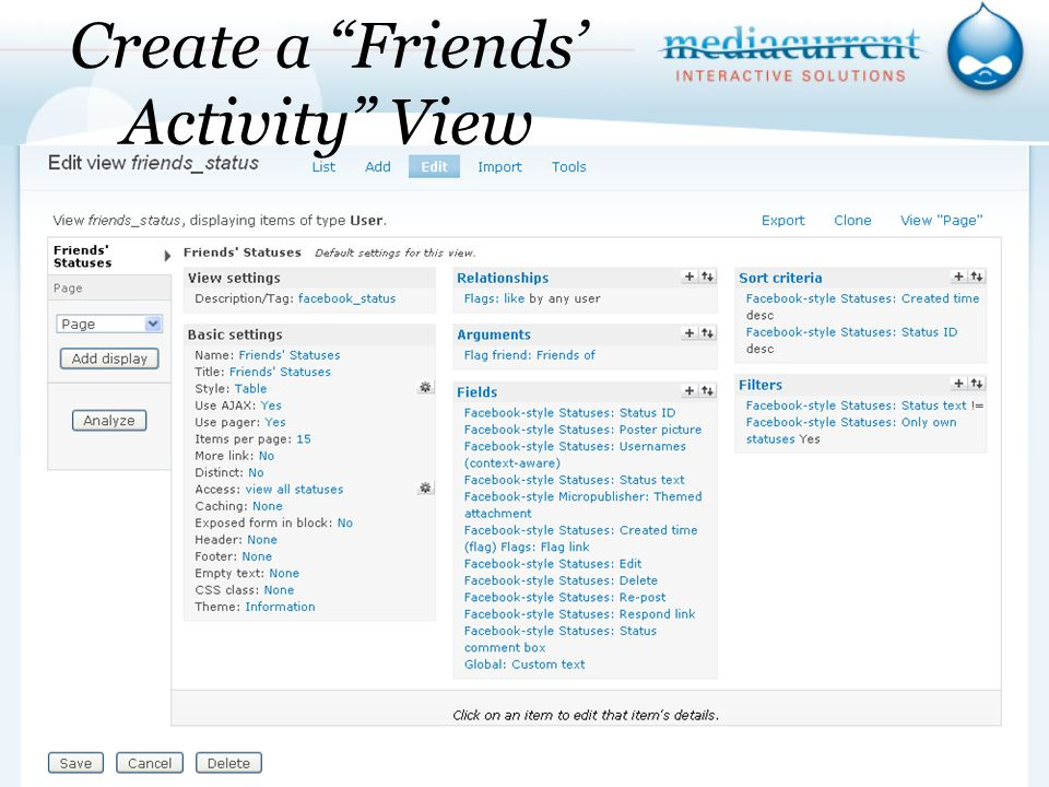Create a Friends Activity View