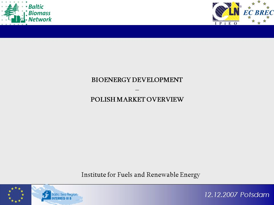 12.12.2007 Potsdam BIOENERGY DEVELOPMENT – POLISH MARKET OVERVIEW Institute for Fuels and Renewable Energy