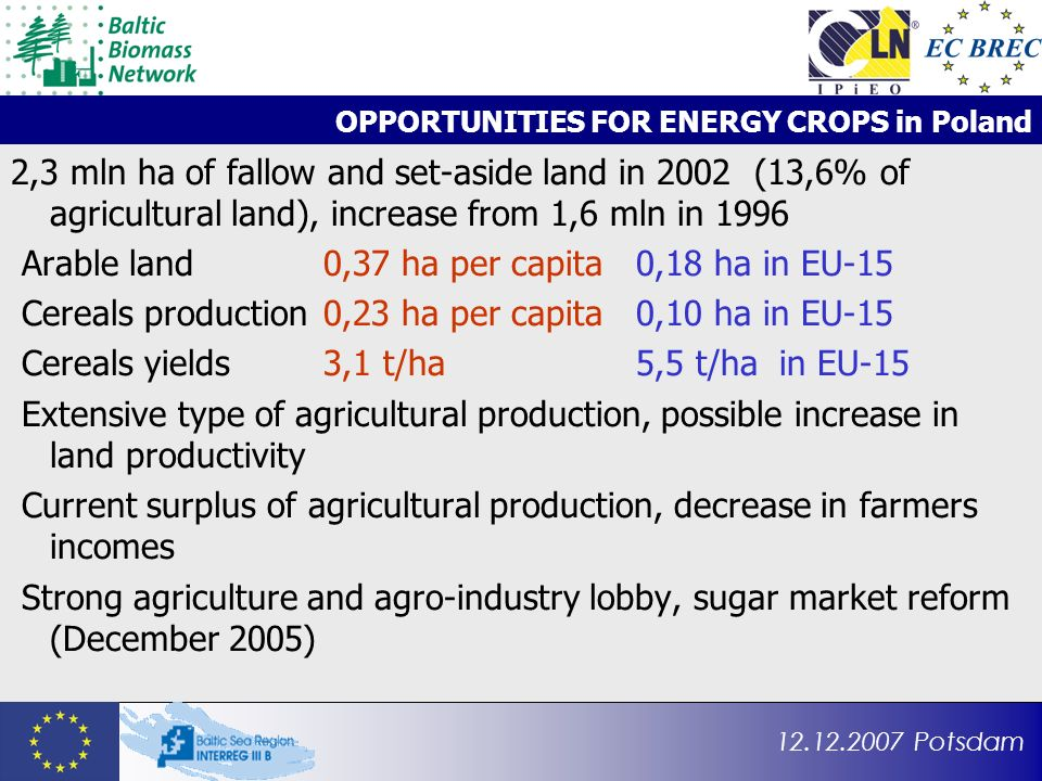 12.12.2007 Potsdam OPPORTUNITIES FOR ENERGY CROPS in Poland 2,3 mln ha of fallow and set-aside land in 2002 (13,6% of agricultural land), increase from 1,6 mln in 1996 Arable land0,37 ha per capita 0,18 ha in EU-15 Cereals production0,23 ha per capita0,10 ha in EU-15 Cereals yields3,1 t/ha5,5 t/ha in EU-15 Extensive type of agricultural production, possible increase in land productivity Current surplus of agricultural production, decrease in farmers incomes Strong agriculture and agro-industry lobby, sugar market reform (December 2005)
