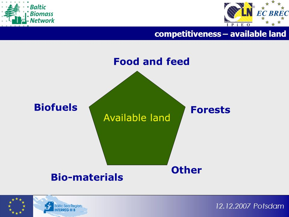 12.12.2007 Potsdam competitiveness – available land Food and feed Bio-materials Biofuels Other Available land Forests