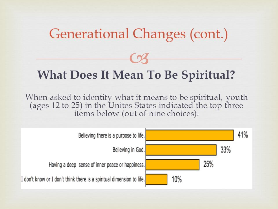 Generational Changes (cont.) What Does It Mean To Be Spiritual.