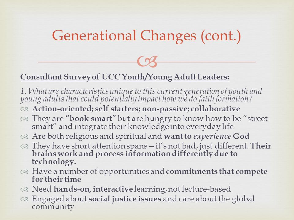 Consultant Survey of UCC Youth/Young Adult Leaders: 1.