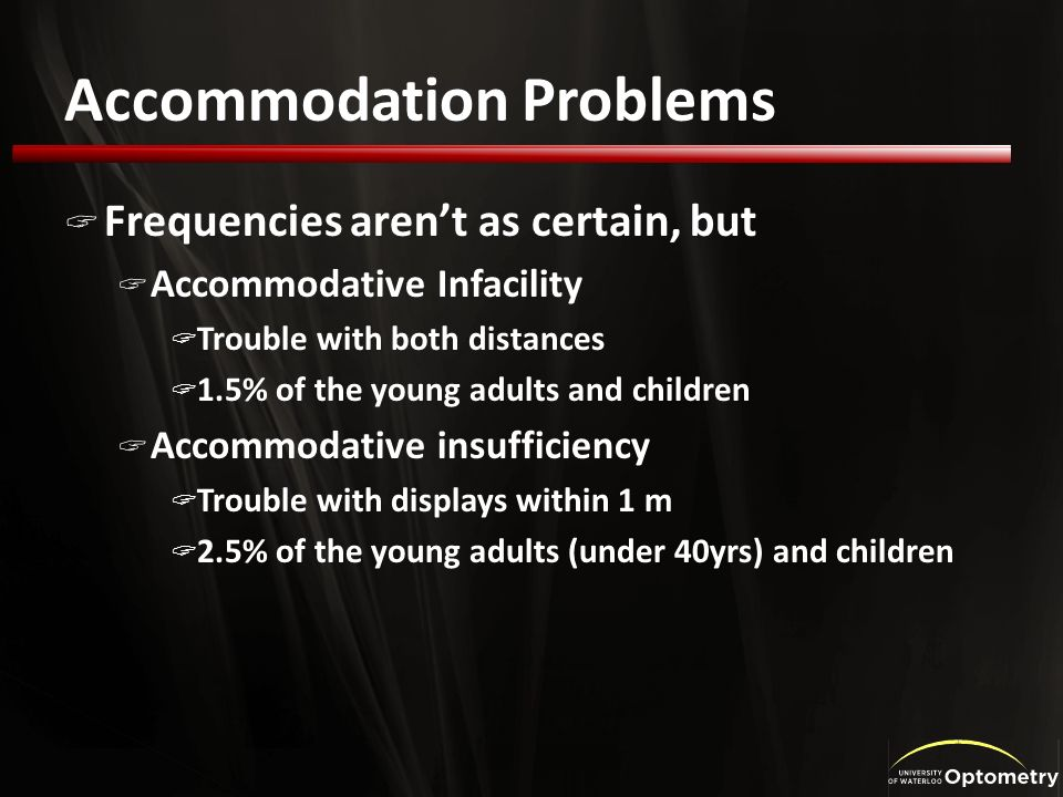 Accommodation Problems Frequencies arent as certain, but Accommodative Infacility Trouble with both distances 1.5% of the young adults and children Accommodative insufficiency Trouble with displays within 1 m 2.5% of the young adults (under 40yrs) and children