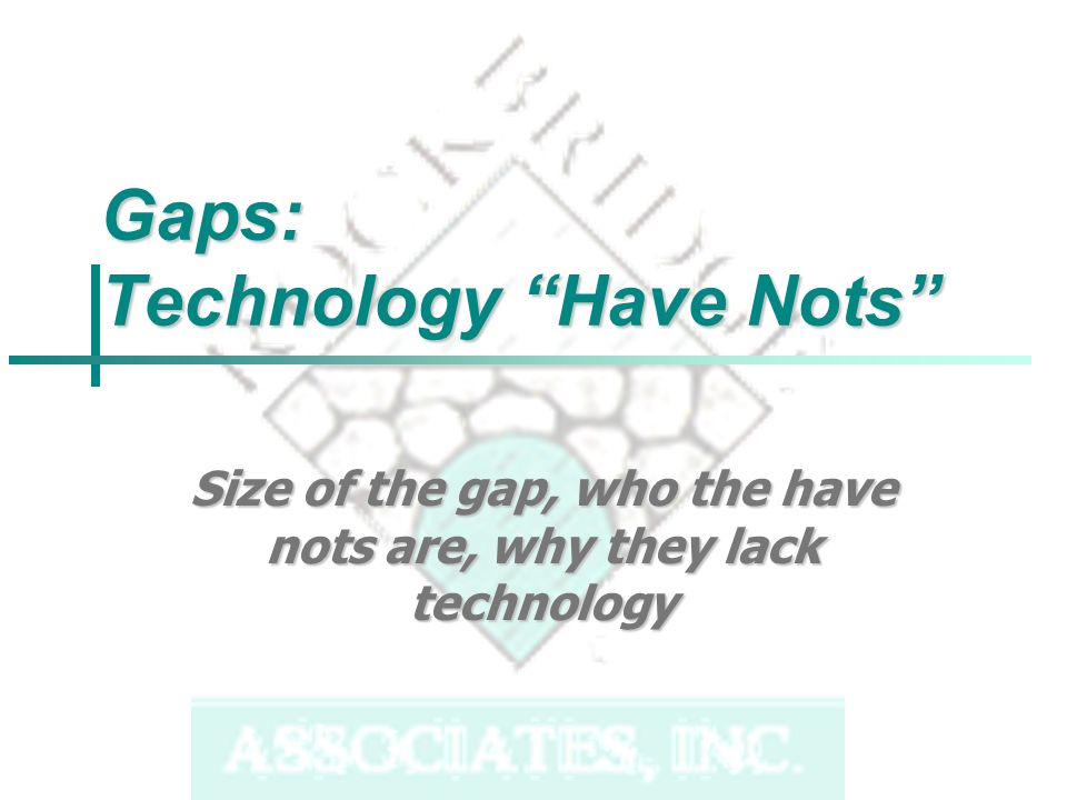 Gaps: Technology Have Nots Size of the gap, who the have nots are, why they lack technology