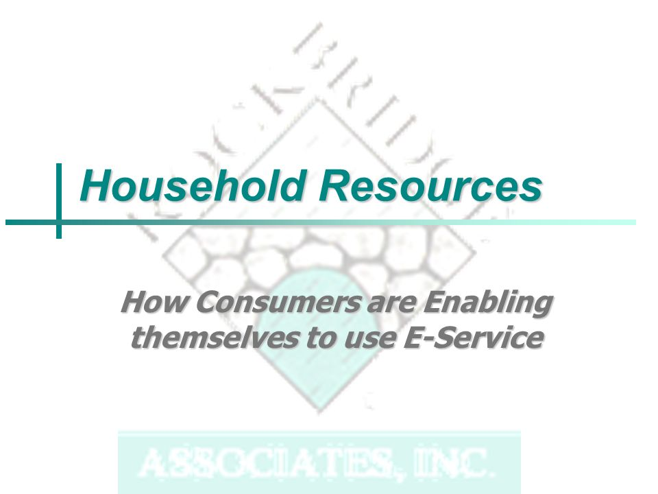 Household Resources How Consumers are Enabling themselves to use E-Service