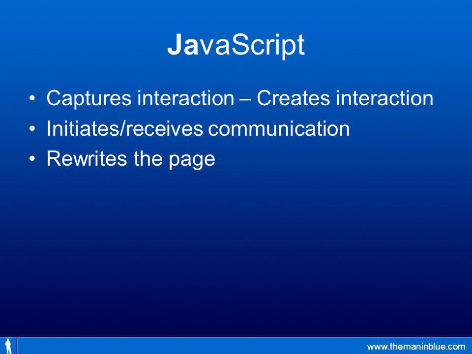 www.themaninblue.com JavaScript Captures interaction – Creates interaction Initiates/receives communication Rewrites the page