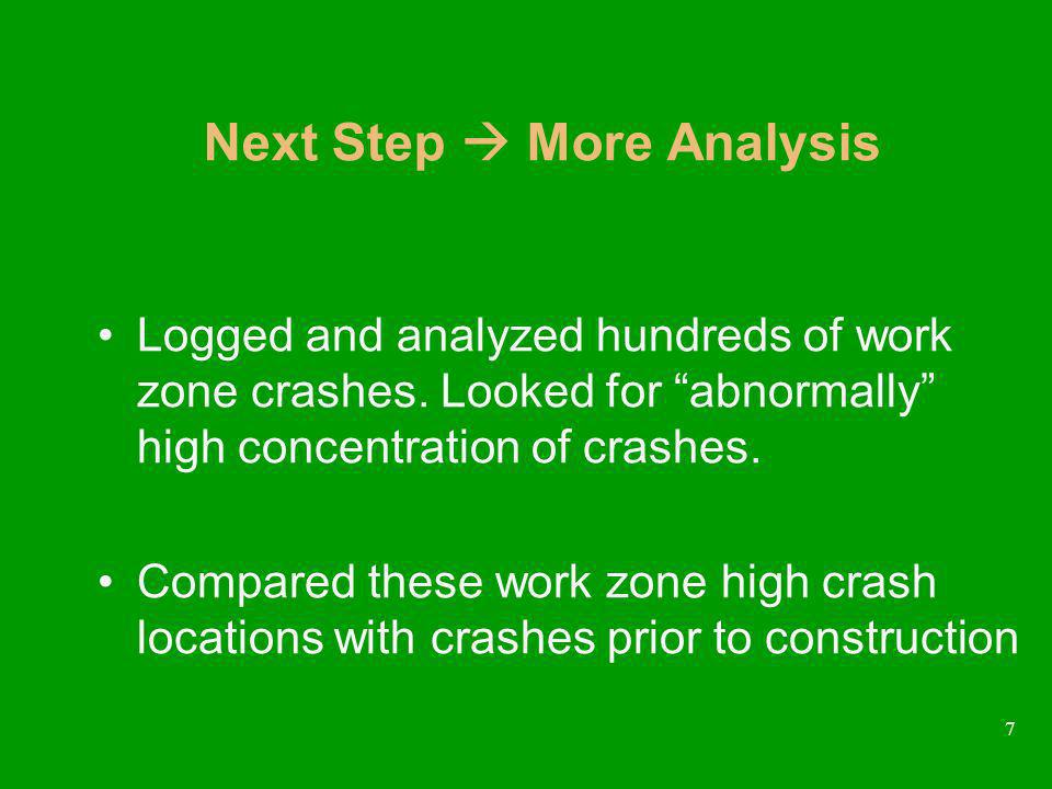 7 Next Step More Analysis Logged and analyzed hundreds of work zone crashes.