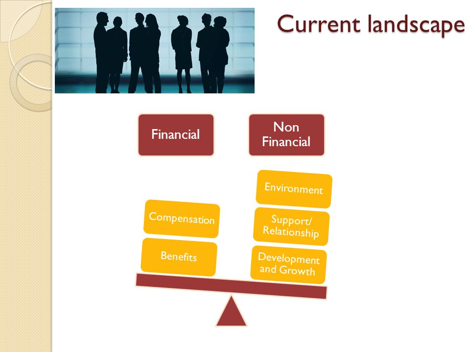 Current landscape Financial Non Financial Development and Growth Support/ Relationship EnvironmentBenefitsCompensation