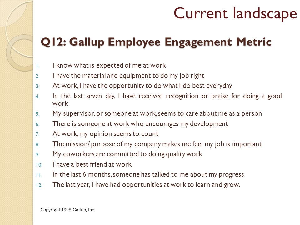 Q12: Gallup Employee Engagement Metric 1. I know what is expected of me at work 2.