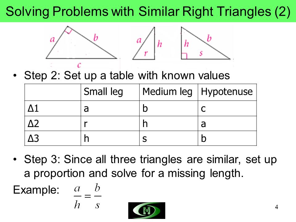 4 Solving Problems with Similar Right Triangles (2) Step 2: Set up a table with known values Small legMedium legHypotenuse 1abc 2rha 3hsb Step 3: Since all three triangles are similar, set up a proportion and solve for a missing length.