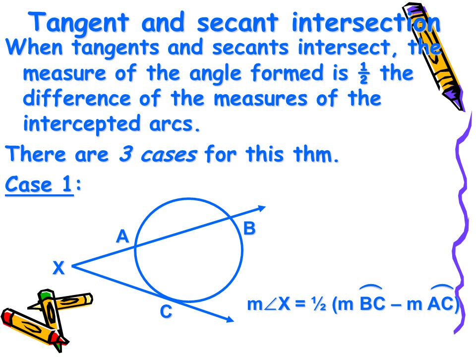 Tangent and secant intersection When tangents and secants intersect, the measure of the angle formed is ½ the difference of the measures of the intercepted arcs.