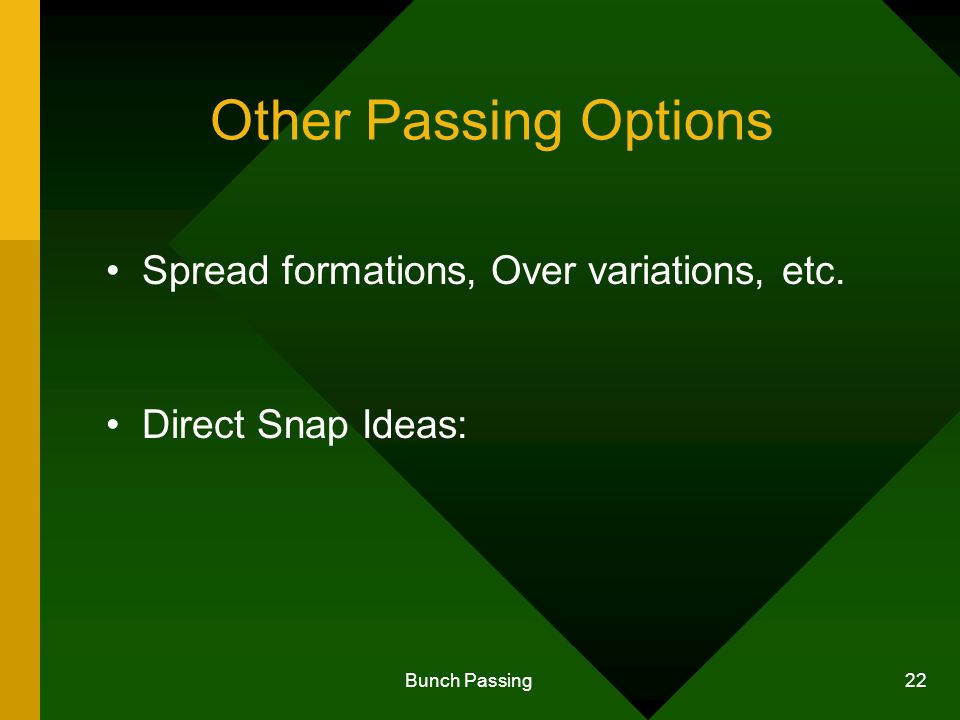Bunch Passing 22 Other Passing Options Spread formations, Over variations, etc. Direct Snap Ideas: