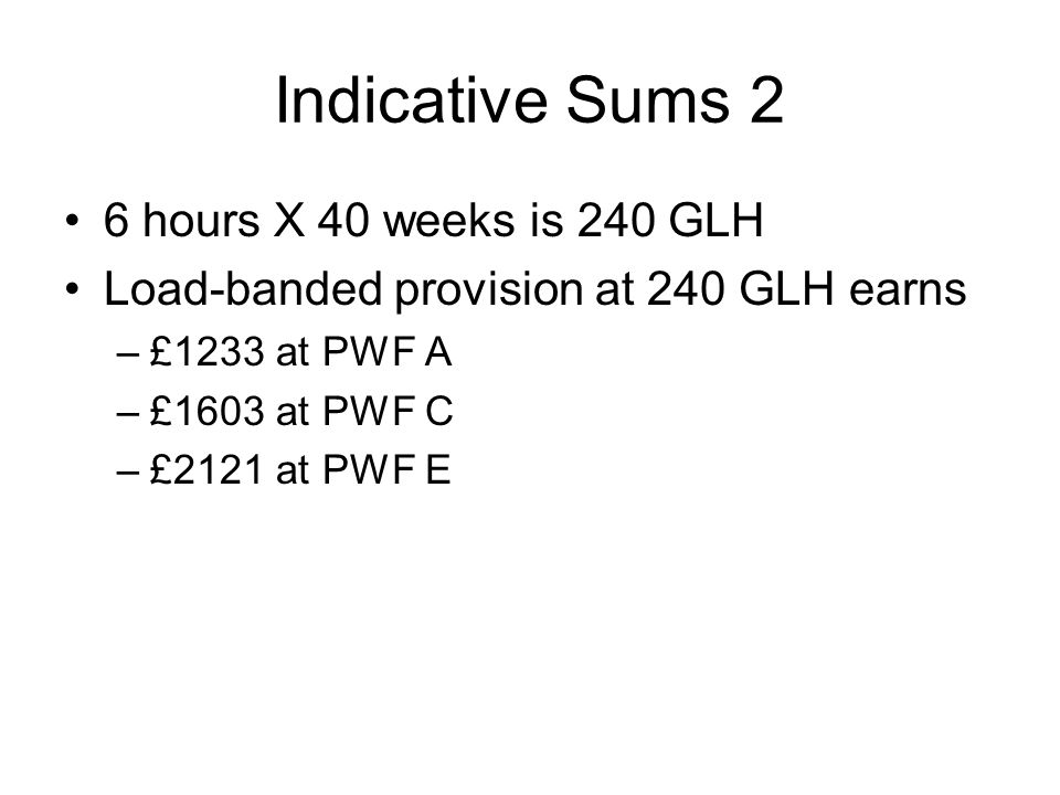 Indicative Sums 2 6 hours X 40 weeks is 240 GLH Load-banded provision at 240 GLH earns –£1233 at PWF A –£1603 at PWF C –£2121 at PWF E