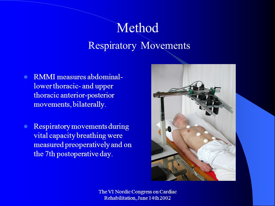 The VI Nordic Congress on Cardiac Rehabilitation, June 14th 2002 Method Respiratory Movements RMMI measures abdominal- lower thoracic- and upper thoracic anterior-posterior movements, bilaterally.