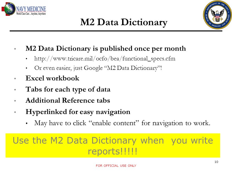 M2 Data Dictionary M2 Data Dictionary is published once per month   Or even easier, just Google M2 Data Dictionary.