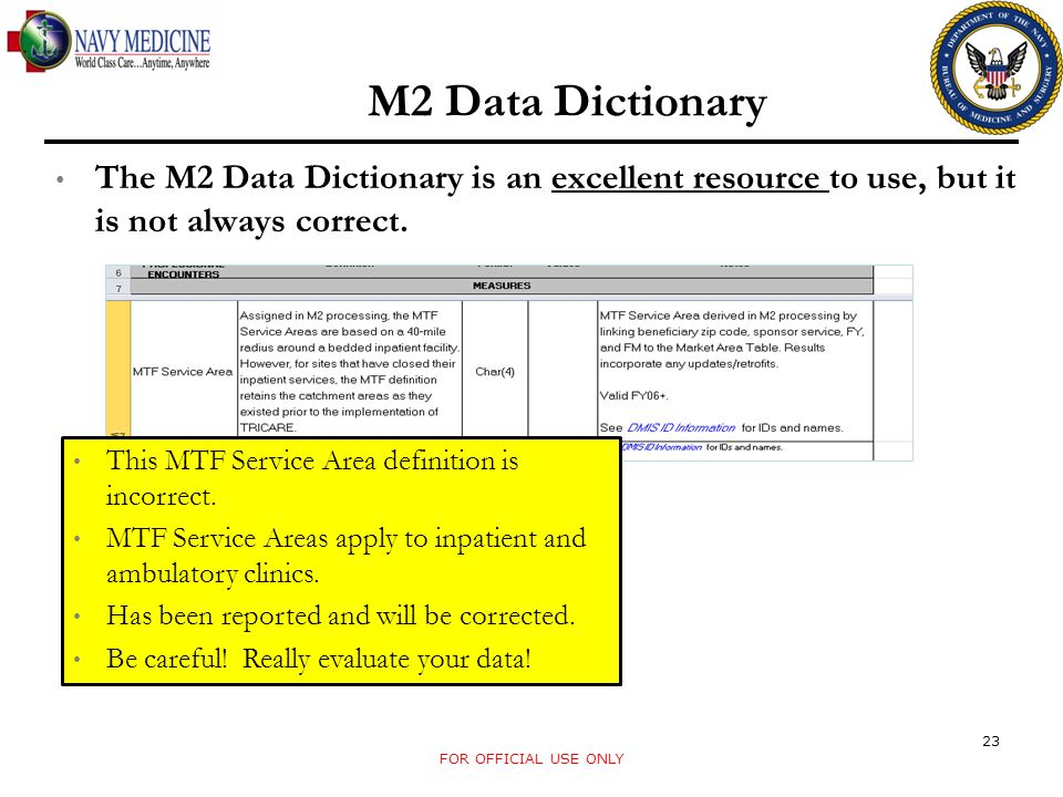 M2 Data Dictionary The M2 Data Dictionary is an excellent resource to use, but it is not always correct.
