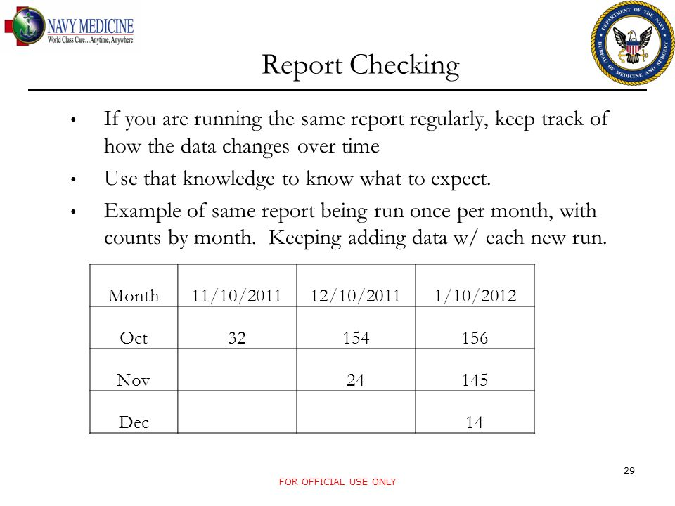 Report Checking If you are running the same report regularly, keep track of how the data changes over time Use that knowledge to know what to expect.