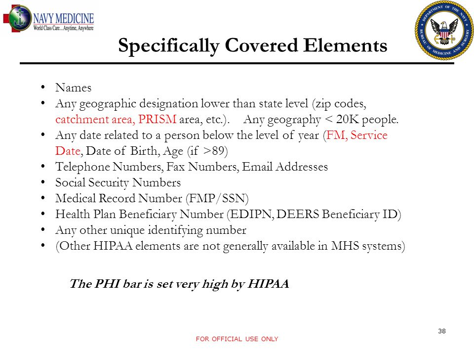 Specifically Covered Elements Names Any geographic designation lower than state level (zip codes, catchment area, PRISM area, etc.).