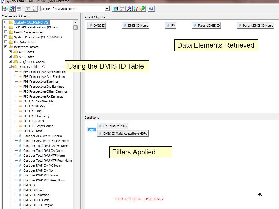 Screen Shot Data Elements Retrieved Filters Applied Using the DMIS ID Table 48 FOR OFFICIAL USE ONLY